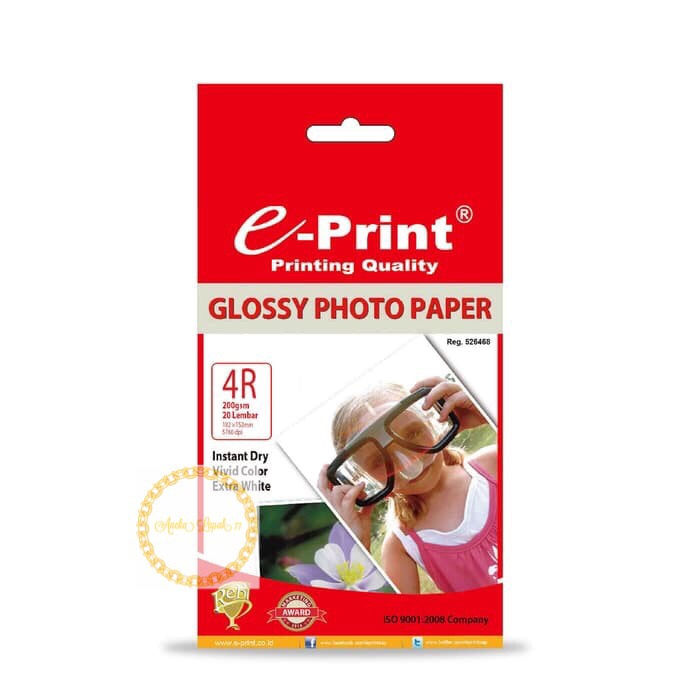 Foto Produk E-print photo paper kertas foto glossy 4R A6 20 sh 200 gsm dari RING COLLECTION