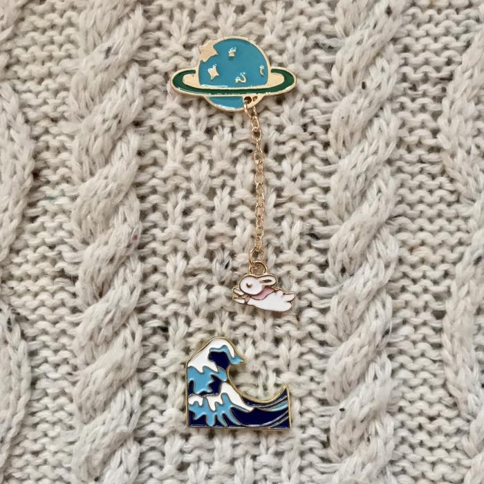 bd11d98be7e Planet Bunny Rabbit / Tsunami Ocean Tidal Wave Hokusai Enamel Pin Bros - Planet  Bunny