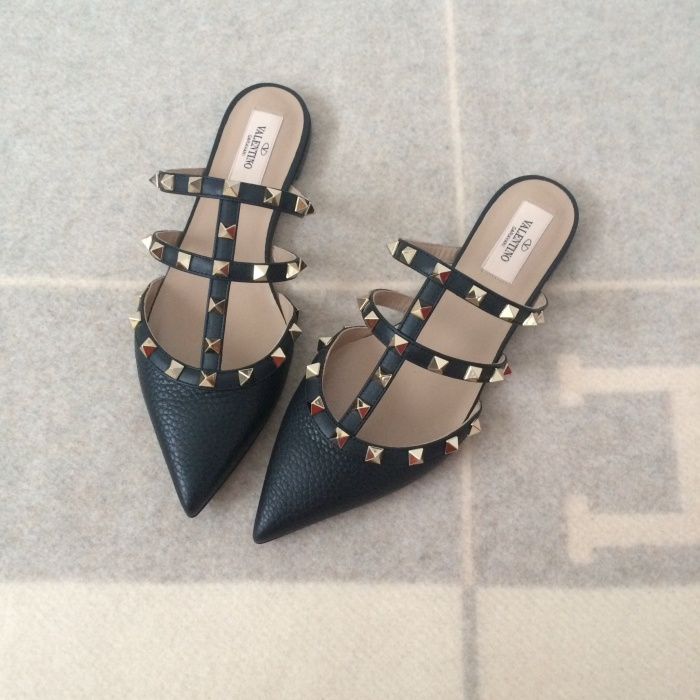 outlet online fashion wholesale outlet Jual Valentino mules flat black grained - Kota Surabaya ...
