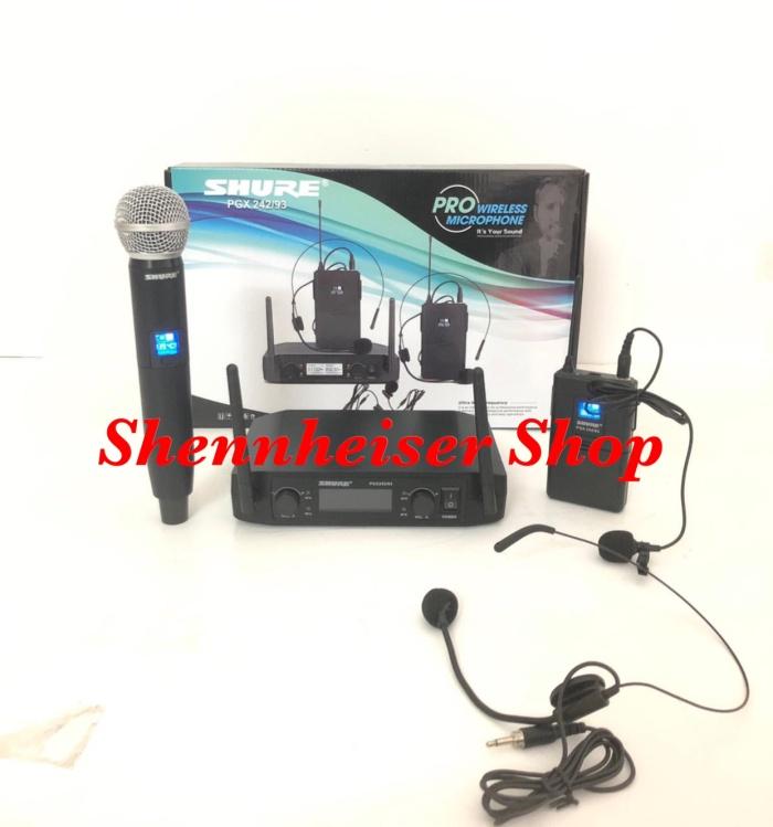 harga Mic shure pgx 242/93 wireless microphone handle clip on headset Tokopedia.com