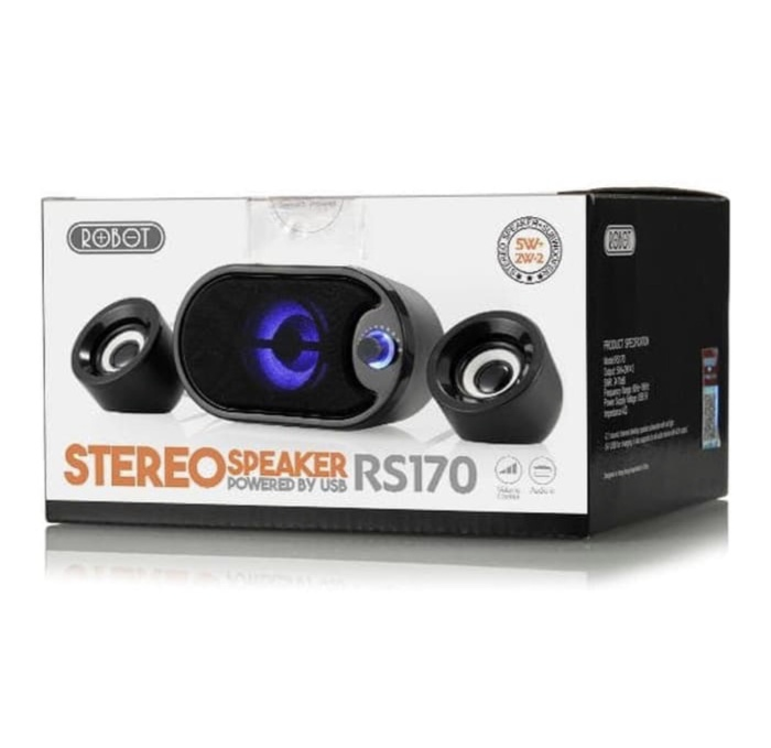 Foto Produk Speaker Komputer/Laptop/Hp Stereo Original Robot RS170 With Led Black dari Angel Tio