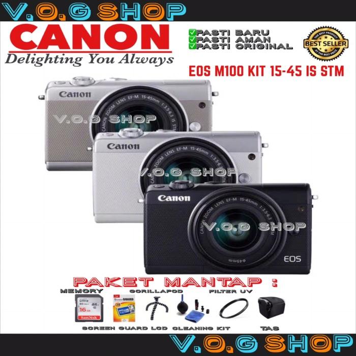 harga Mirorless canon eos m100 kit 15-45 is stm garansi resmi datascrip Tokopedia.com