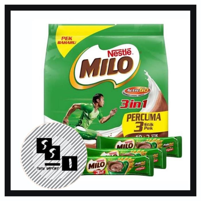 Foto Produk Milo 3in1 Malaysia 18+3 Sacset | milo 3 in 1 Malaysia dari Susu Import