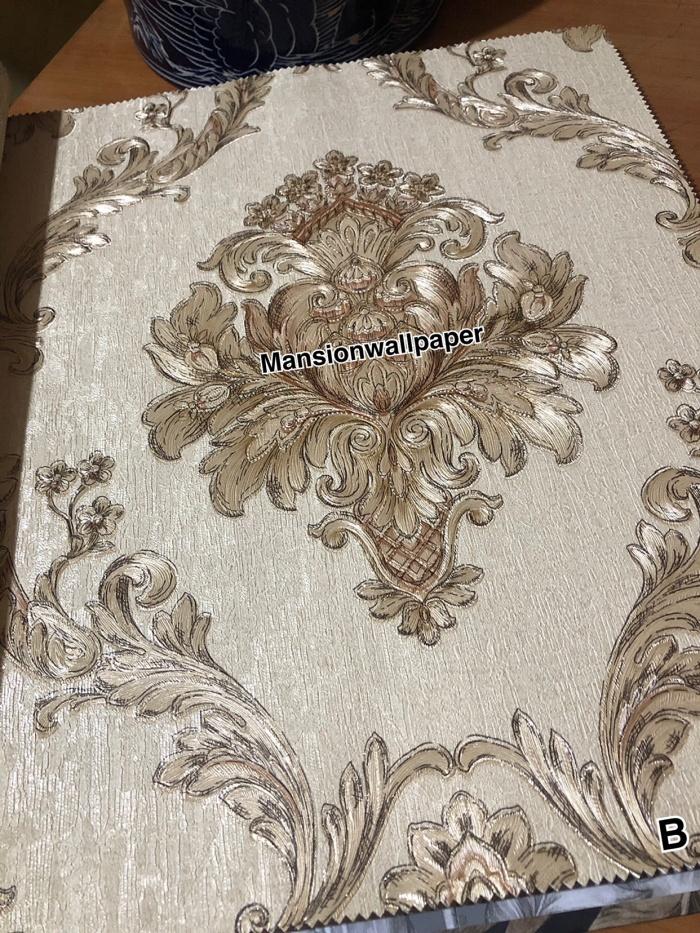 Jual Wallpaper Dinding Klasik Gold Coklat Luxury Mewah Jakarta Utara Mansion Wallpaper Tokopedia