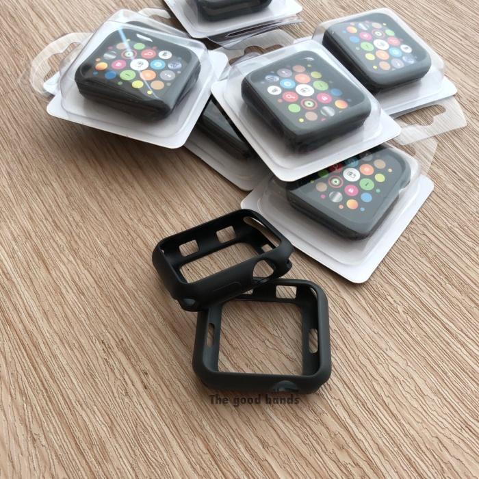 Foto Produk Apple Watch 4 Case casing SILICONE BLACK HITAM TPU jelly 40mm 44mm dari The Good Bands
