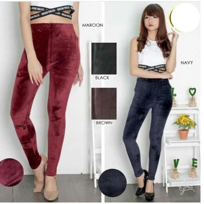 Jual Chicago Pants Celana Legging Bludru Velvet Wanita 4123 Kab Tangerang Dai5o Tokopedia