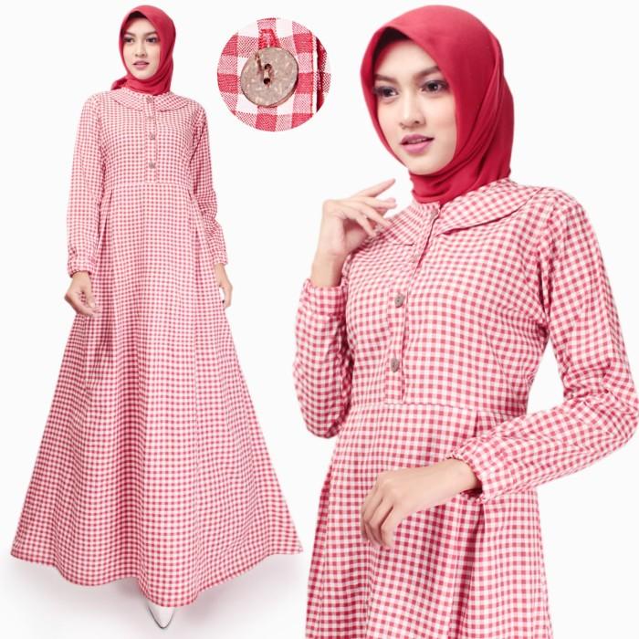 Foto Produk Gamis Wanita | Husna Maxi | Dress Muslim Katun | Original Tazkia Hijab - Merah dari Tazkia Hijab Store
