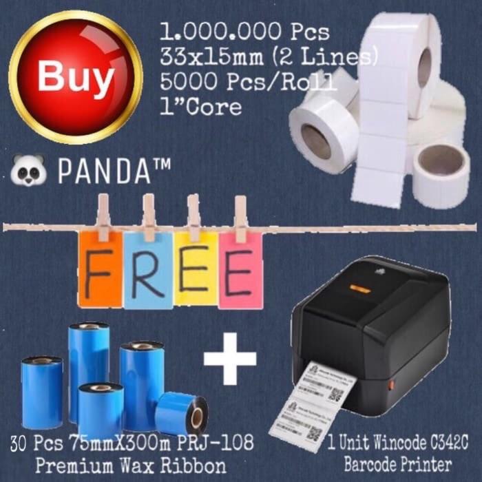 harga 1.000.000 pcs 33x15mm barcode label free ribbon+wincode c342c printer Tokopedia.com