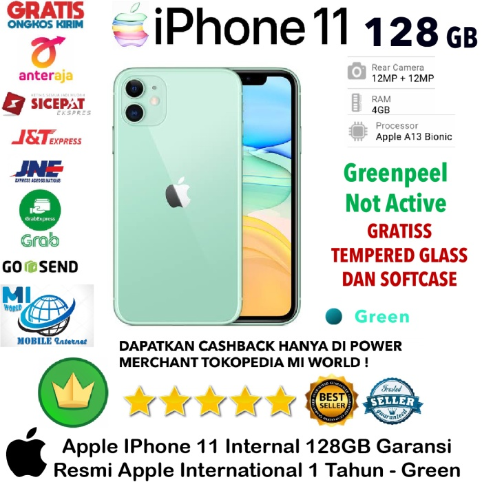 Foto Produk Apple IPhone 11 128 GB iP 11 128GB Garansi Resmi-Inter-Green-Hijau dari MI WORLD