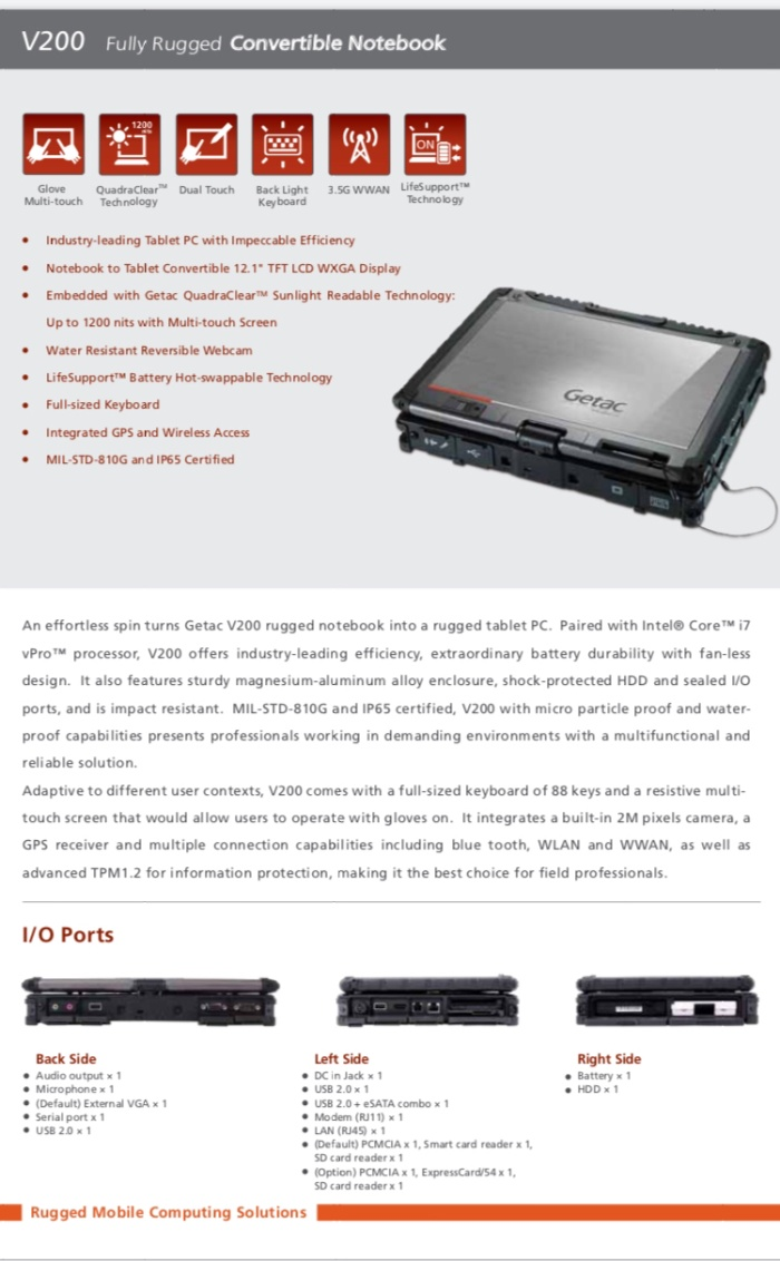 Jual Getac V200 G2 Fully Rugged Laptop