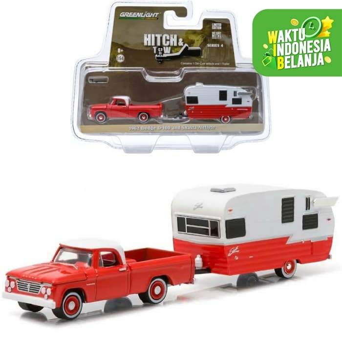 Foto Produk PROMO Greenlight 1/64 1962 Dodge D100 and Shasta Airflyte dari Vovo Toys