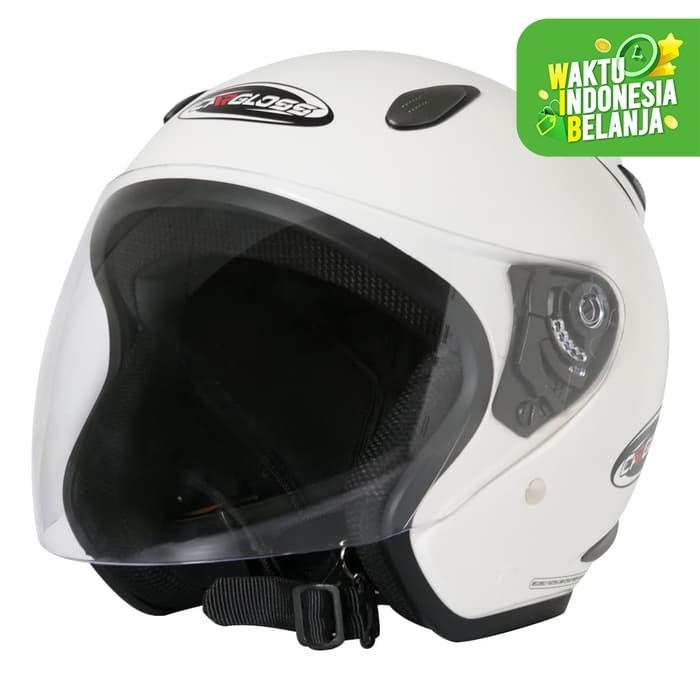 Foto Produk Helm Half Face YCN CR Cargloss Visor Hardcoat - White Met 6 - XL dari Helm Cargloss