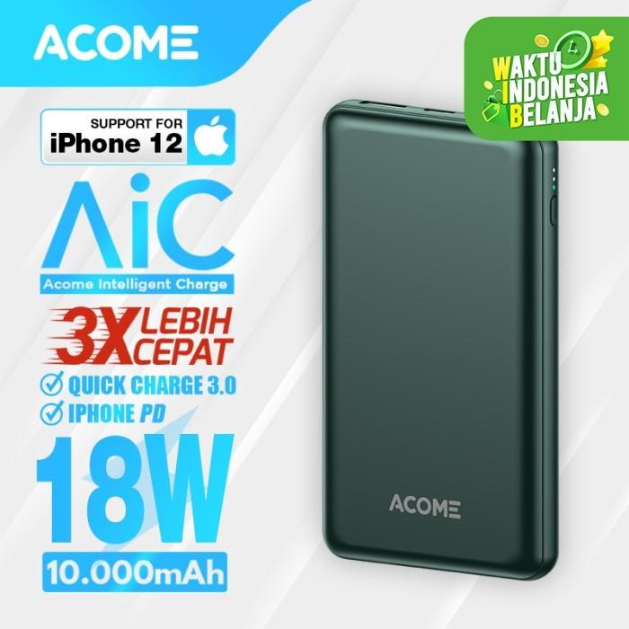 Foto Produk Acome Mini Powerbank 10000 mah 18W PD QC3.0 Dual USB Single Type C - Dark Green dari Acome Indonesia