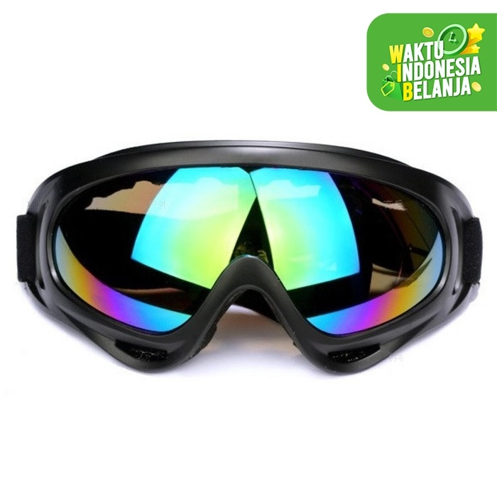 Foto Produk Kacamata Goggle Ski Tactical Sepeda Motor Pelindung Mata Lensa Wide UV - Hitam dari lbagstore