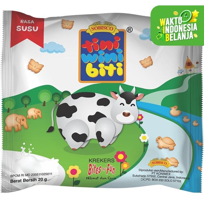 Foto Produk TINI WINI BITI biskuit anak Susu 20 g bentuk binatang 3 sachet dari Konimex Store