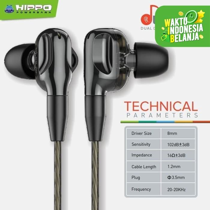 Foto Produk Hippo Miooz Duette Dual Dynamic Earphone 4 Power Drivers Bass - Hitam dari EAONLINE