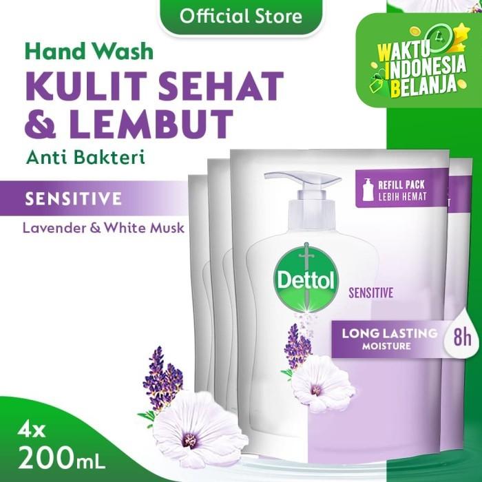 Foto Produk Dettol Sabun Cuci Tangan Sensitive 200ml x 4pcs Refill dari Dettol Official Store