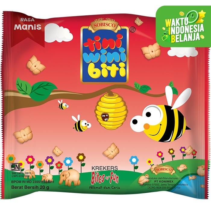 Foto Produk TINI WINI BITI biskuit anak Manis 20 g bentuk binatang 3 sachet dari Konimex Store