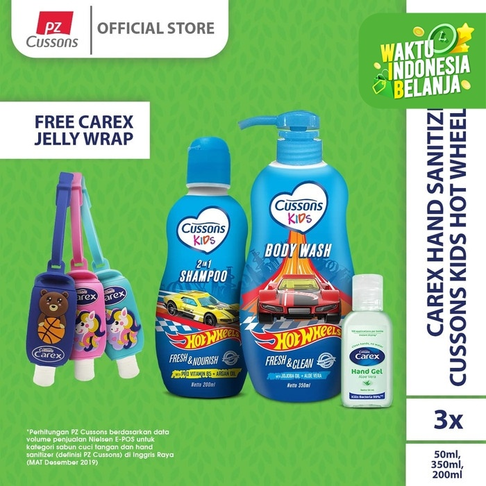 Foto Produk Carex Hand Sanitizer X Cussons Kids Hot Wheels Pack 2 dari Cussons Official Store
