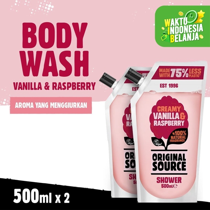 Foto Produk Original Source Shower Vanilla & Raspberry 500ml Twin Pack dari Cussons Official Store