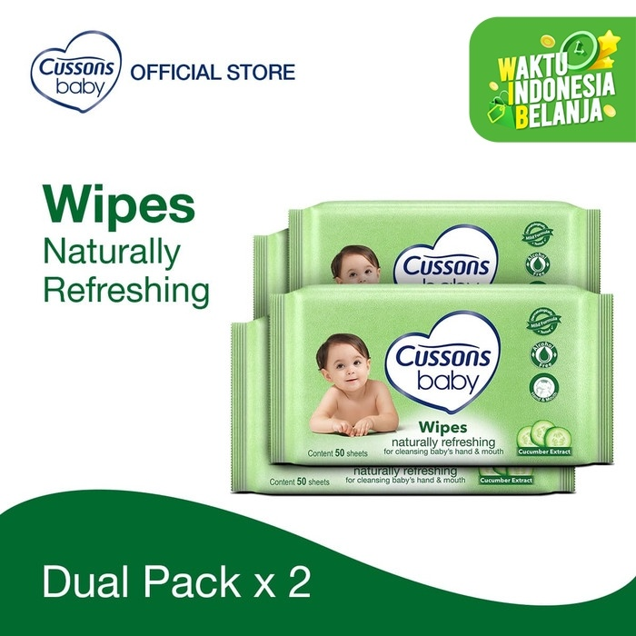 Foto Produk Cussons Baby Wipes Natural Refreshing 50 Sheet X 2 Twin Pack dari Cussons Official Store