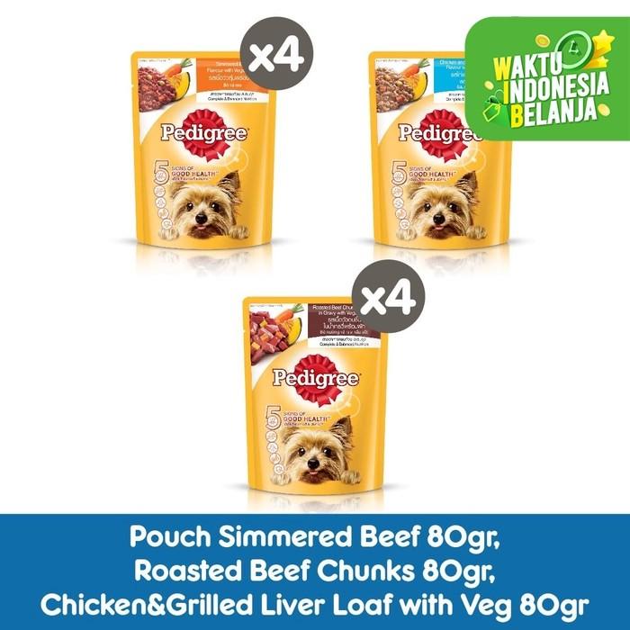 Foto Produk PEDIGREE Makanan Anjing Basah Rasa Beef, Beef Chunks & Chicken -Isi 12 dari Pedigree Official Store