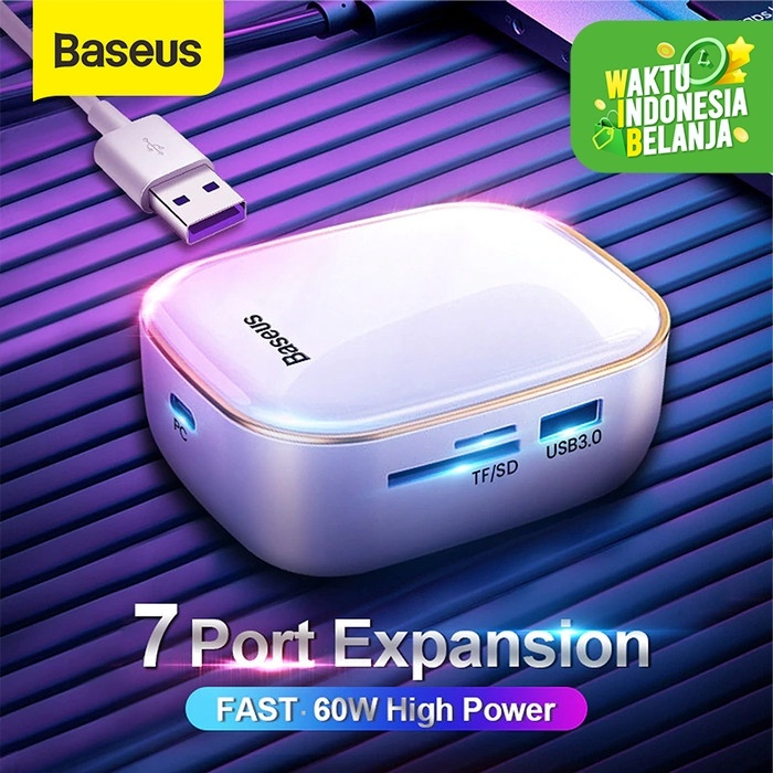 Foto Produk BASEUS TYPE C HUB AC ADAPTOR CHARGER RJ45 SD HDMI USB3.0 TF PD 60W - Putih dari Baseus Official Store