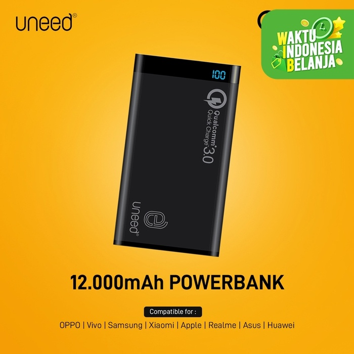 Foto Produk Uneed Powerbank 12000mAh Qualcomm Quick Charge 3.0 QuickBox 12 - Hitam dari Uneed Indonesia