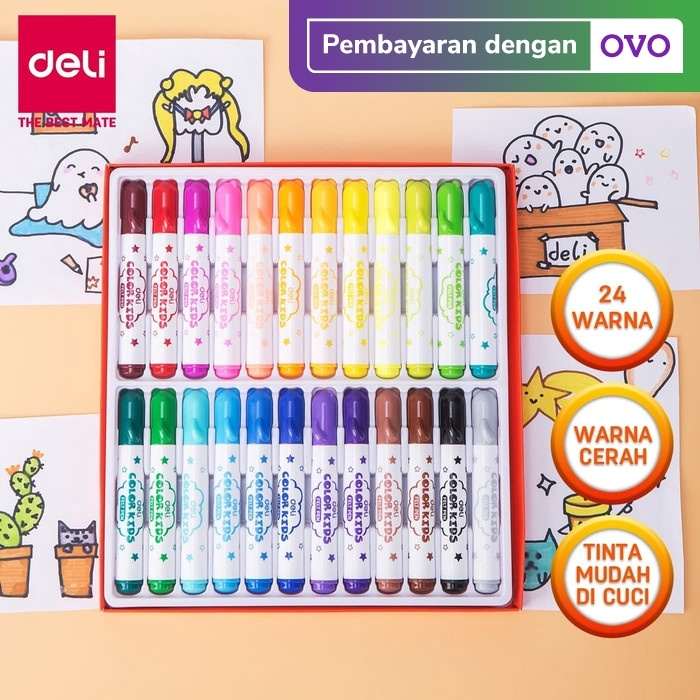 Foto Produk Deli EC10420 Spidol Warna Washable 1.0-5.0mm 24C dari Deli Stationery