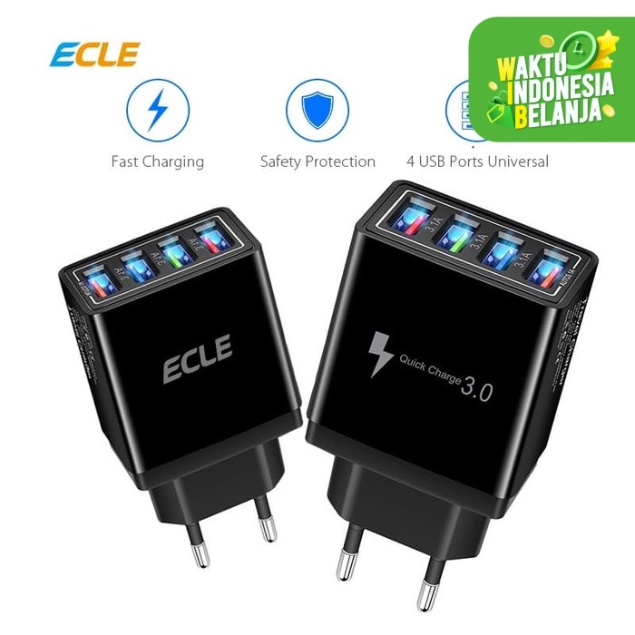 Foto Produk ECLE Adaptor Charger Fast Charging LED 4 USB Port 3A QC 3.0 EAC606 dari ECLE Official Store