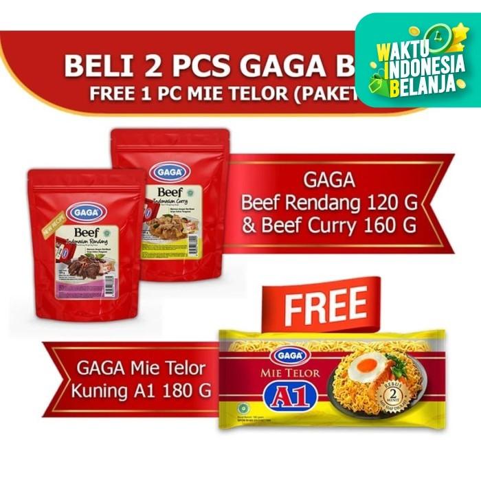 Foto Produk GAGA Beef Rendang 1pc, GAGA Beef Curry 1pc FREE Mie Telor A1 (GG55) dari Gaga Official Store
