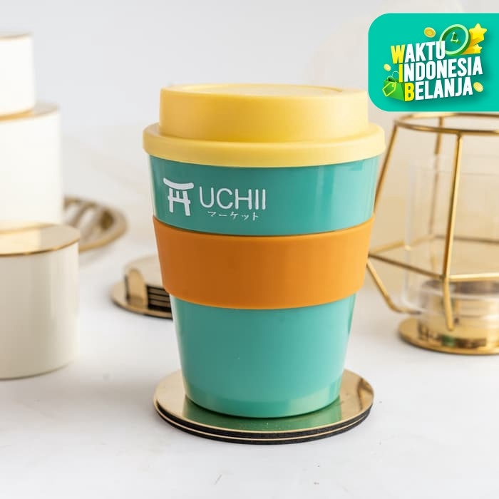 Foto Produk UCHII Portable Coffee Cup Hot Cold Handle Lid Gelas Kopi Yellow Green dari uchii store