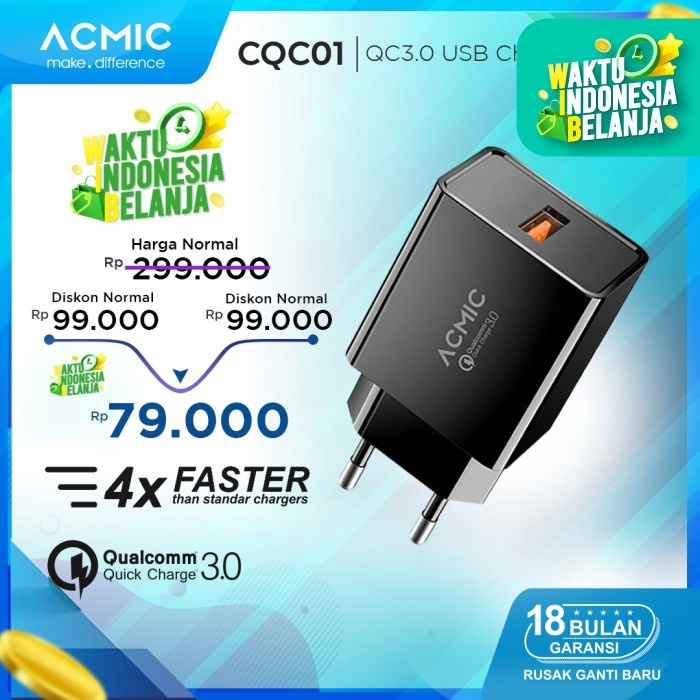Foto Produk ACMIC CQC01 - Quick Charge 3.0 USB Wall Charger Fast Charging - CQC01 Only dari ACMIC Official Store