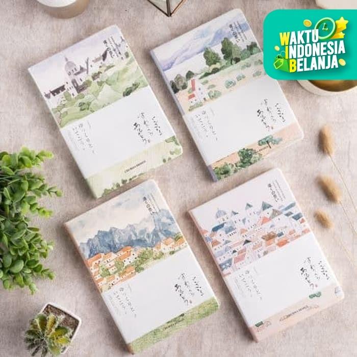 Foto Produk UCHII A5 Note Memo Book Japan Landscape | Buku Tulis Bergaris PU Cover - 3 - Housing dari uchii store