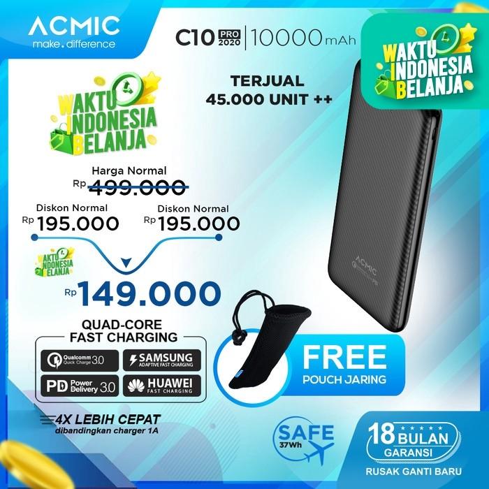Foto Produk ACMIC C10PRO 10000mAh PowerBank Quick Charge 3.0 + PD Power Delivery - Tanpa Kabel dari ACMIC Official Store