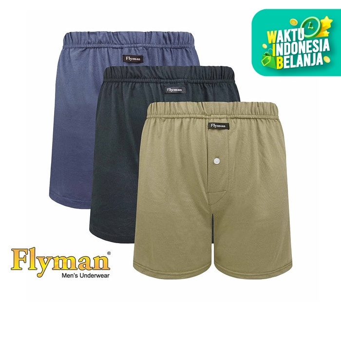Foto Produk Flyman Celana Dalam Boxer Cotton Basic 3 PCS FM 3330 - L dari Flyman Nathalie Store