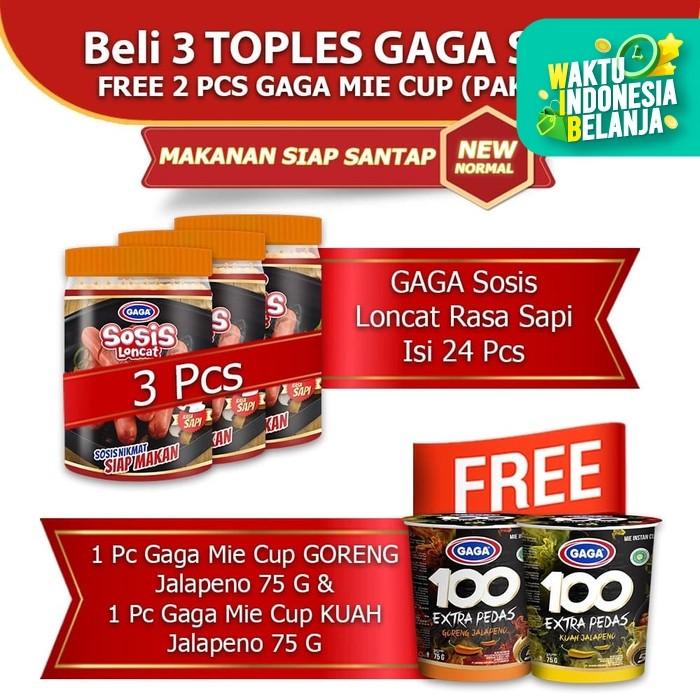 Foto Produk GAGA Sosis Loncat Sapi 3 toples GRATIS 2 pcs Mie Cup Jalapeno (kode42) dari Gaga Official Store