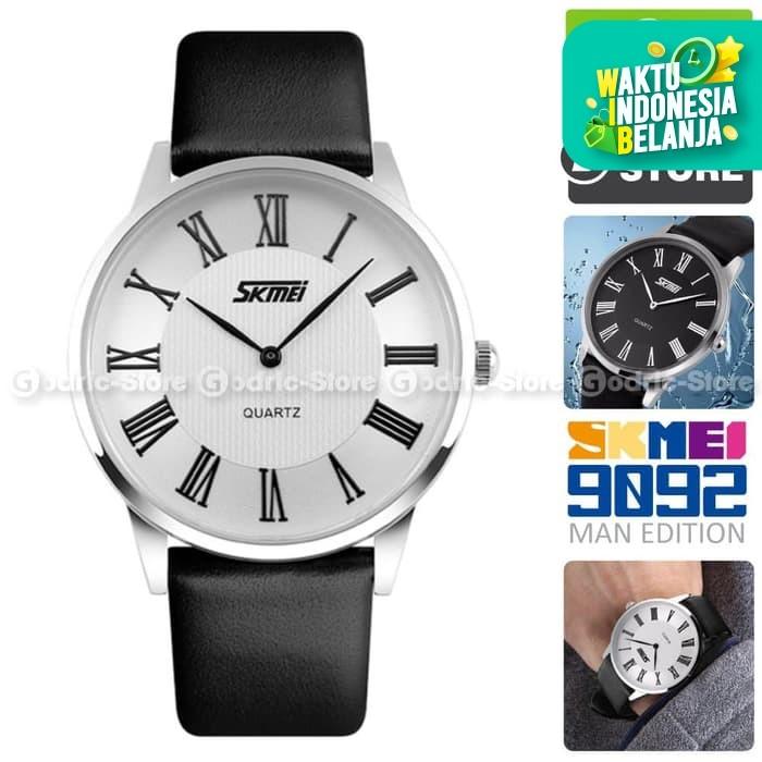 Foto Produk SKMEI 9092 Jam Tangan Pria Cowok Kulit Leather Casio Casual WR 30M - Hitam dari Godric Store