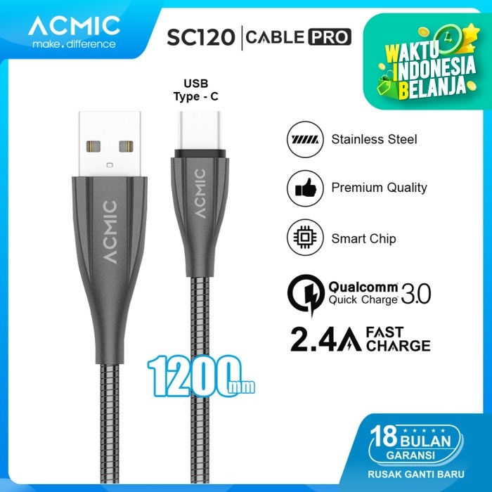Foto Produk ACMIC SC120 Kabel Data Charger USB Type C 100cm Fast Charging Cable - Rose Gold dari ACMIC Official Store