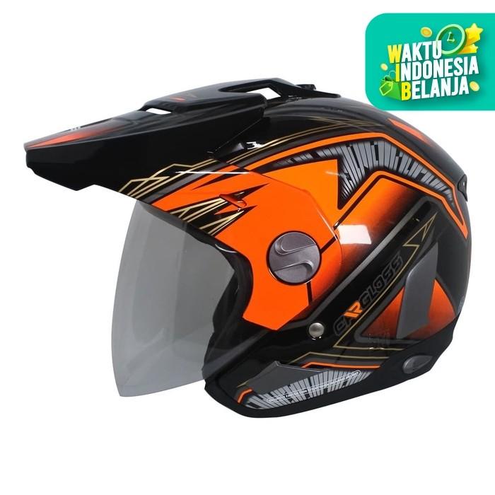 Foto Produk Helm Cargloss Former Motosport Orange - Deep black - M dari Helm Cargloss