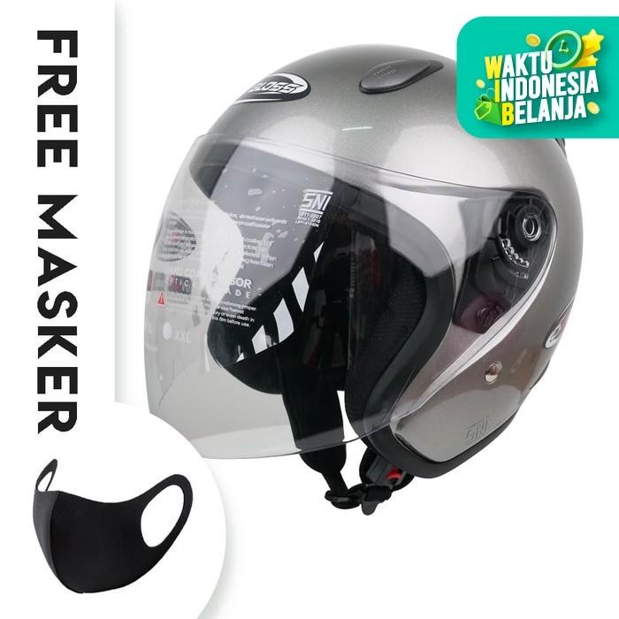 Foto Produk Helm Half Face YCN CR Cargloss Visor Hardcoat - Silver Met Glossy - M dari Helm Cargloss