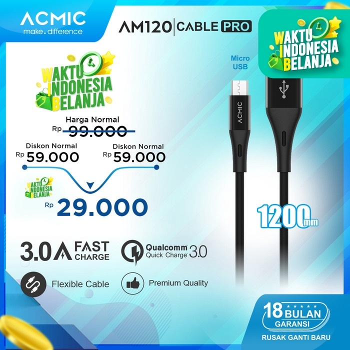 Foto Produk ACMIC AM120 Kabel Data Charger Micro USB 120cm Fast Charging Cable - Hitam dari ACMIC Official Store