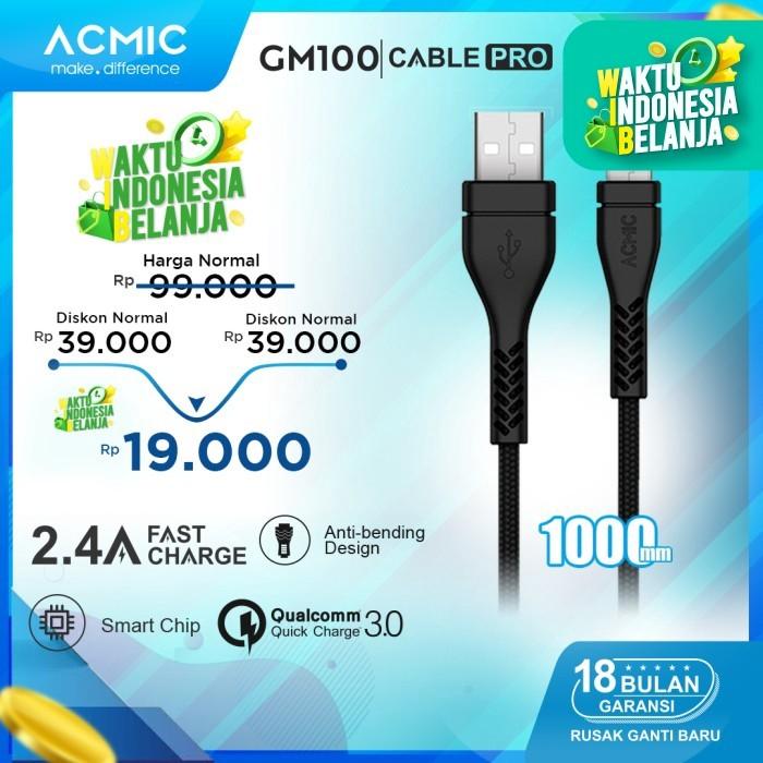 Foto Produk ACMIC GM100 Kabel Data Charger Micro USB 100cm Fast Charging Cable - Hitam dari ACMIC Official Store