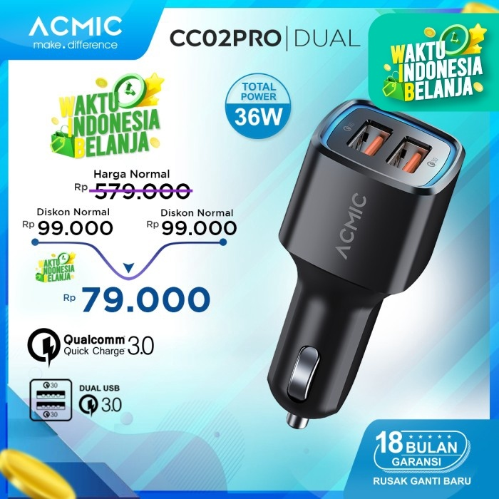 Foto Produk ACMIC CC02PRO Dual USB QC3.0 Car Charger Fast Charging 36 Watt - Hitam dari ACMIC Official Store