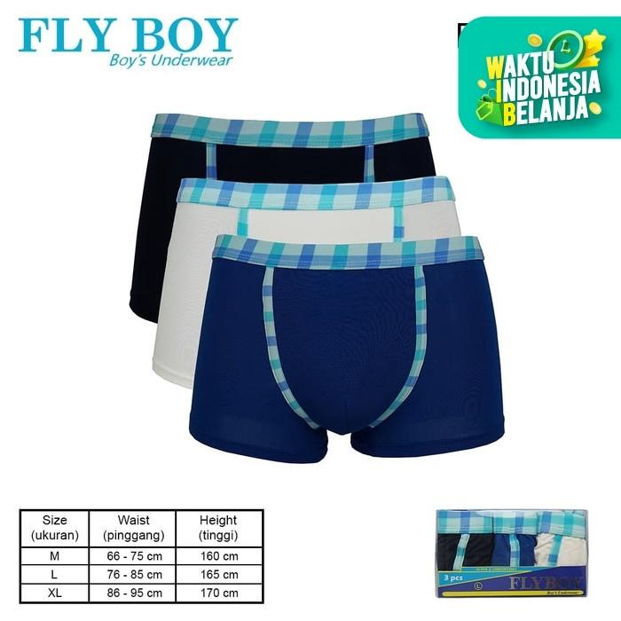 Foto Produk FlyBoy Boys Blue Flannel Boxer 3 PCS FBC 3268 - M dari Flyman Nathalie Store