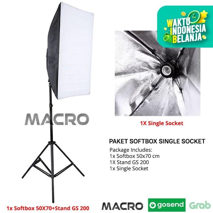 Foto Produk PAKET STUDIO PHOTO SOFTBOX LIGHT STAND + SINGLE SOCKET 50x70 dari MACRO