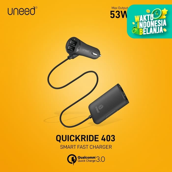Foto Produk UNEED Sharing Car Charger QuickRide with Quick Charge 3.0 – UCC403 dari Uneed Indonesia