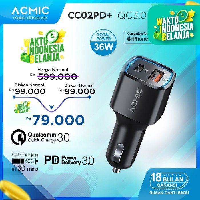Foto Produk ACMIC CC02PD+ Car Charger PD + QC3.0 Fast Charging 36 Watt - Hitam dari ACMIC Official Store
