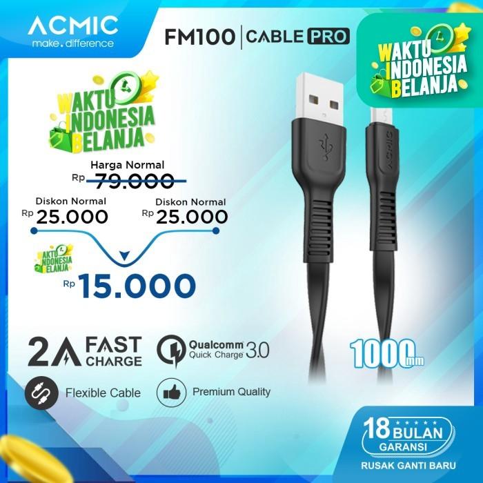 Foto Produk ACMIC FM100 Kabel Data Charger Micro USB 100cm Fast Charging Cable - Hitam dari ACMIC Official Store