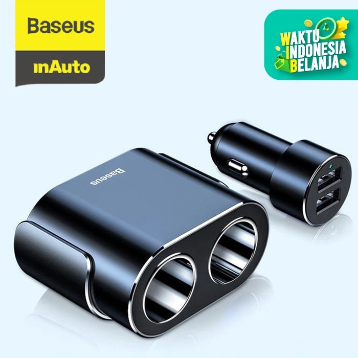 Foto Produk CAR CHARGER BASEUS CHARGER MOBIL USB DUAL PORT - Hitam dari Baseus Auto Life